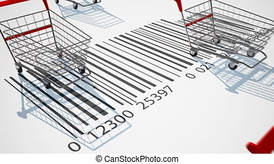 Shopping carts - Empty shopping carts, HD 1080p, Loop