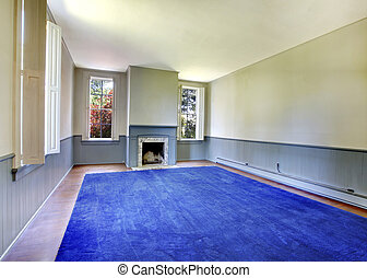 Empty blue living room interior. with Antique fireplace.