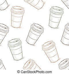 Seamless pattern scetch of coffee to go. Take away coffee...