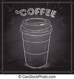 Coffee to go scetch on a black board. Vector illustration,...