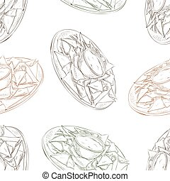 Seamless pattern nachos scetch - Mexican food seamless...