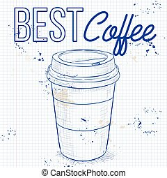 Coffee to go on a notebook page. Vector illustration, EPS...