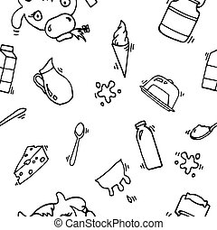 Milk vector icons pattern - Milk, cheese production, cow...