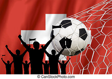 silhouettes of Soccer fans with flag of Switzerland .Cheer Concept