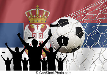 silhouettes of Soccer fans with flag of Serbia .Cheer Concept