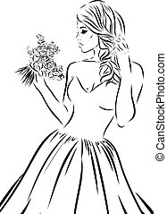 Wedding scetch. Bride on a white background. Vector EPS illustration