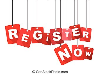 register now, red vector register now, flat vector register now, background register now
