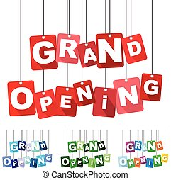 grand opening, red vector grand opening, flat vector grand...