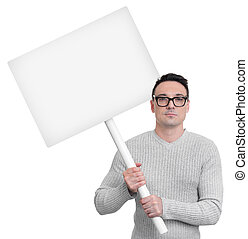 Protesting person with picket sign isolated on white...