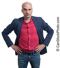 Skeptical bald man looking at camera. Isolated on white...