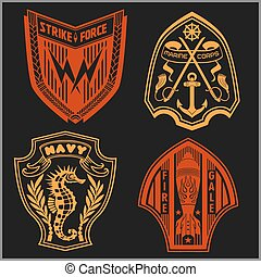 Set of military and armed forces badges  labels logo