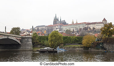 Embankment of the Vltava River, day Prague Czech Republic