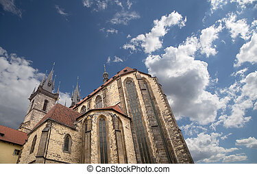 The gothic Church of Mother of God in front of Tyn in Old...
