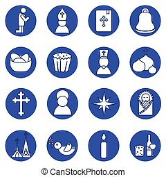 Jesus Christ,Vector icons set - Jesus Christ religion icons...