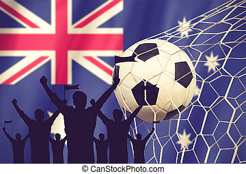 silhouettes of Soccer fans with flag of Australia.Cheer...