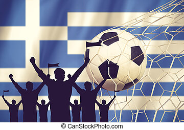 silhouettes of Soccer fans with flag of Greece .Cheer Concept vintage color