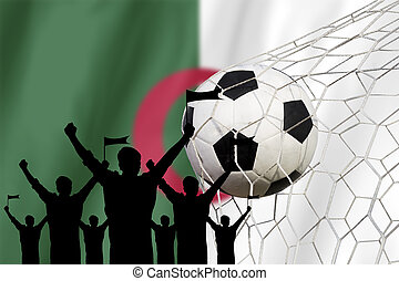silhouettes of Soccer fans with flag of Algeria Cheer...