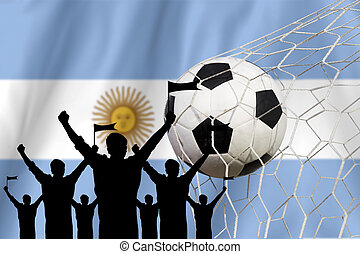 silhouettes of Soccer fans with flag of Argentina.Cheer...