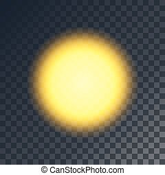 Vector yellow sun. Shiny object on transparent like...
