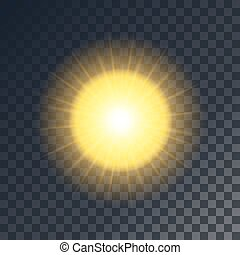 Vector yellow sun with rays