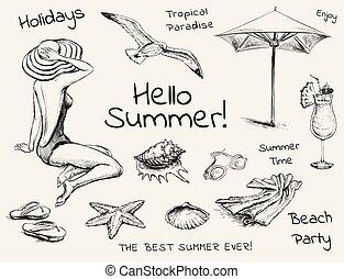 Hand Drawn Sketch Summer Set