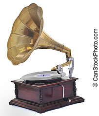 old gramophone - retro old gramophone for playing music over...