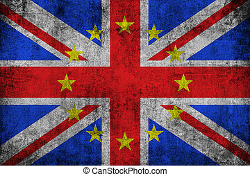 brexit grunge uk england great britain flag with european...