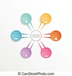 Infographic design template business concept for six position.