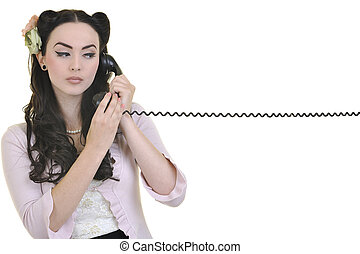 pretty girl talking on old phone - beautiful young woman...