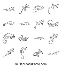 Lizard icons set, outline style - Lizard icons in outline...