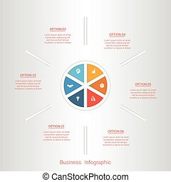 Pie infographic template with text areas on six positions.