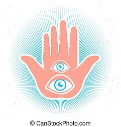 hand and eyes - Vintage vector illustration of hand and eyes