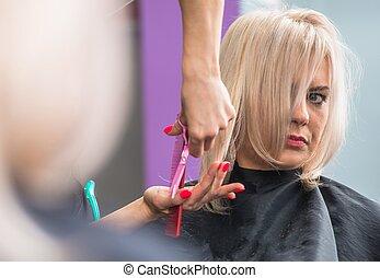 Blond Woman Getting Hair Cut - Blond Hair Woman Getting Hair...