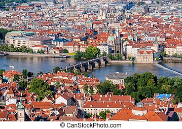 Prague Old Town Cityscape - Prague City Center with Charles...