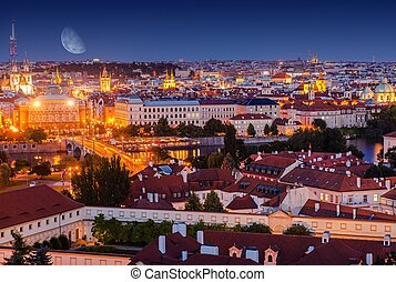 Old Town Prague at Night Vltava River and the Manesuv Bridge...