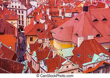 Prague Czechia Architecture Old Town Buildings Roofs From...