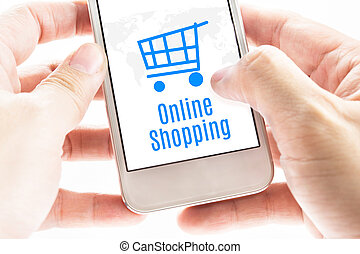 Close up Two hand holding smartphone with Online shopping...