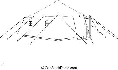 3D illustration of a military tent