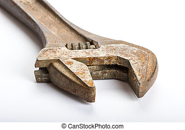 Close up of an old rusty adjustable wrench
