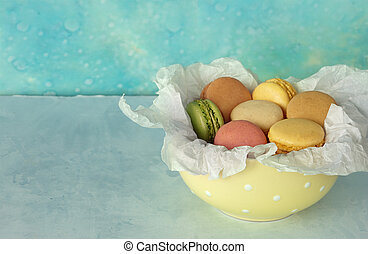 Colorfull Macaroons - Colorfull macaroons cookies in bowl on...