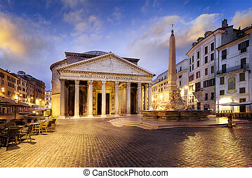 Pantheon at night, Rome, Italy - Famous Pantheon monument in...