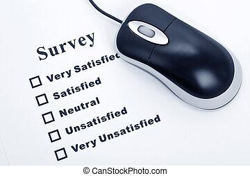 Survey, questionnaire and computer mouse, business concept
