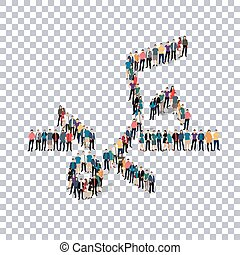 people sports high jump vector - Isometric set of styles,...