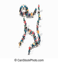 people sports gymnastics vector - Isometric set of styles,...