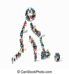 people sports golf vector - Isometric set of styles, people,...