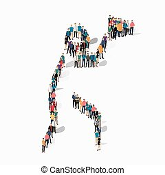 people sports hammer throw vector - Isometric set of styles,...
