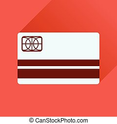 Flat icon with long shadow bank card - Flat icon with long...