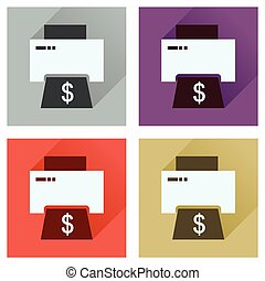 Concept of flat icons with long shadow money printing