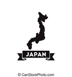 Flat icon in black and white Japan map - Flat icon in black...