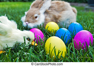 Easter Critters - Duckling and bunny with dyed Easter eggs.